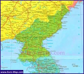 Карта КНДР на русском языке
