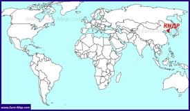 КНДР на карте мира