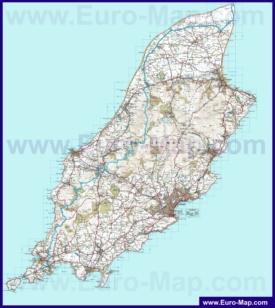Подробная карта острова Мэн