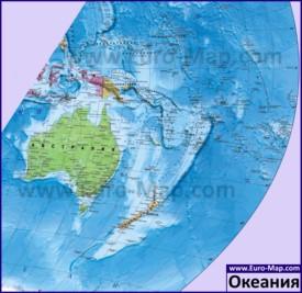 Политическая карта Океании на русском языке