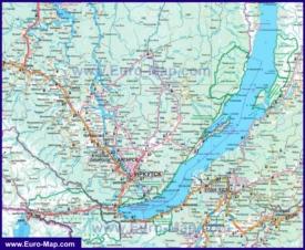 Автомобильная карта дорог Байкала с населенными пунктами