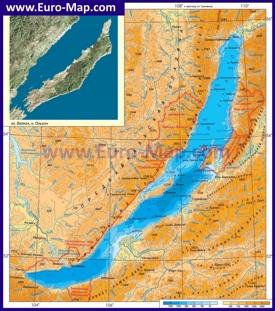 Физическая карта Байкала