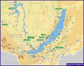 Туристическая карта озера Байкал с достопримечательностями и базами отдыха