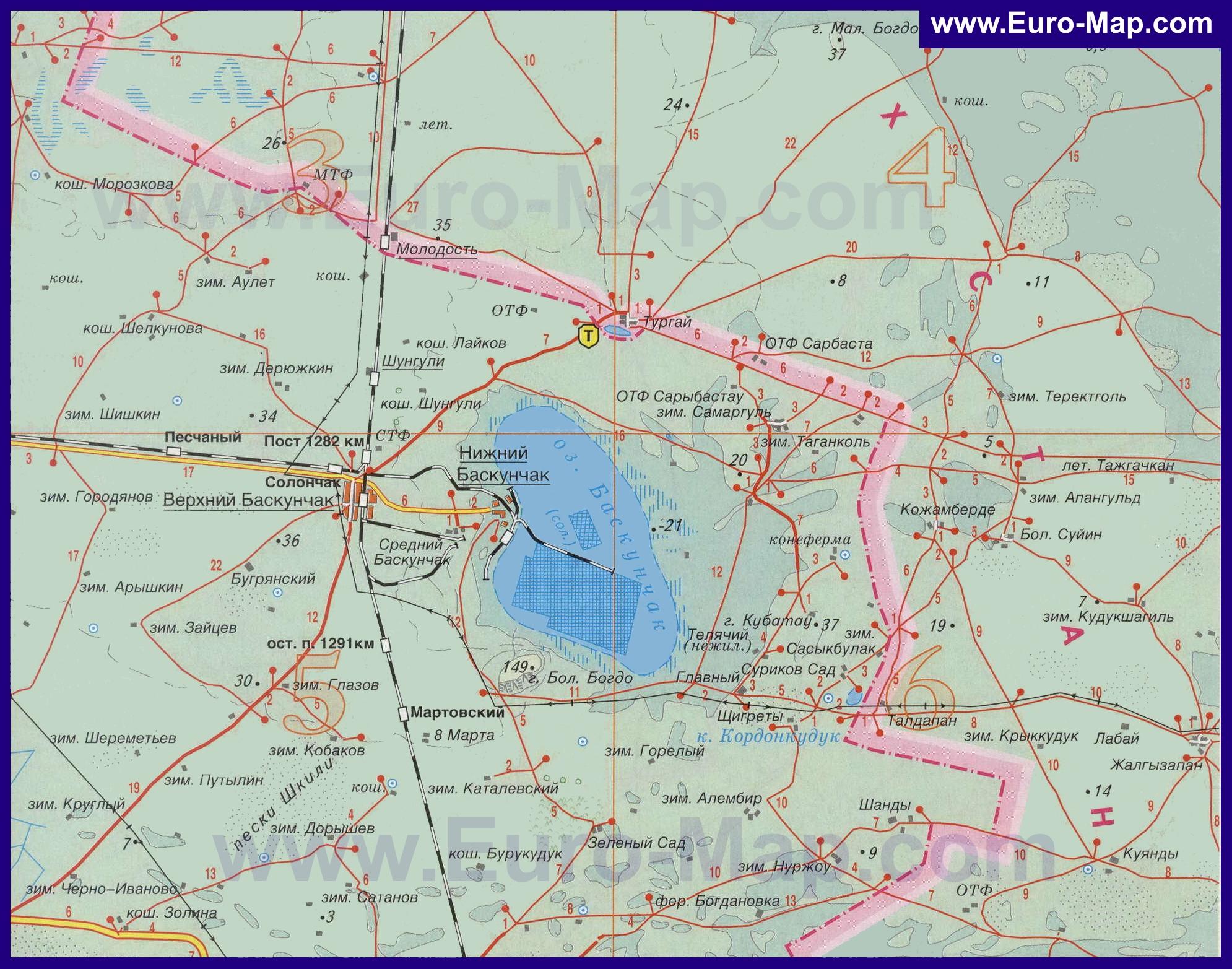 Карта где находится озеро баскунчак на карте россии