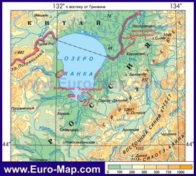 Физическая карта озера Ханка