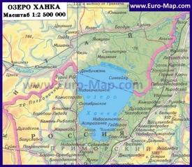 Подробная карта озера Ханка