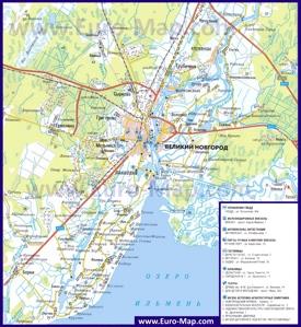 Автомобильная карта дорог озера Ильмень и Великого Новгорода