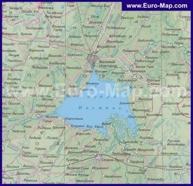 Карта озера Ильмень и окрестностей