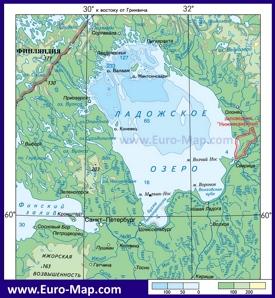Физическая карта глубин Ладожского озера