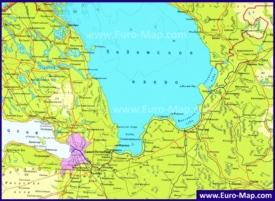 Подробная карта Ладожского озера