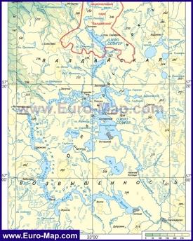 Физическая карта озера Селигер