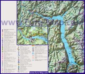 Туристическая карта Телецкого озера с базами отдыха