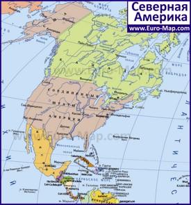 Карта Северной Америки со странами и столицами