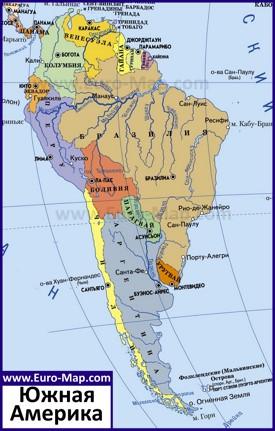 Карта Южной Америки со странами и столицами